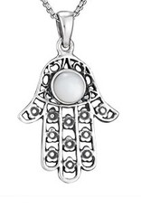 Steven + Clea Hamsa Mother of Pearl Sterling Silver Pendant Necklace