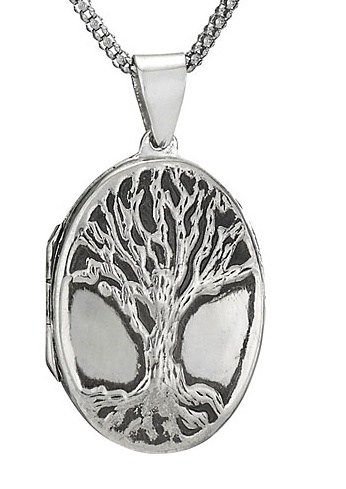 Steven + Clea Oval Tree Oxidized Sterling Silver Locket Necklace