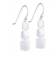 Steven + Clea Matte 3 Square Sterling Silver Earrings
