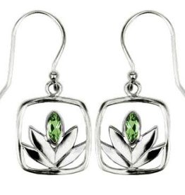 Vera + Wolf Peridot Framed Lotus Sterling Silver Earrings