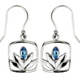 Vera + Wolf Blue Topaz Framed Lotus Sterling Silver Earrings