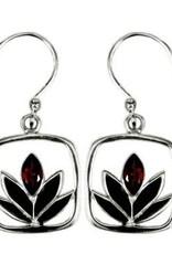 Vera + Wolf Garnet Framed Lotus Sterling Silver Earrings
