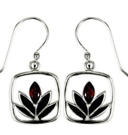 Vera + Wolf Garnet Framed Lotus Sterling Silver Earrings