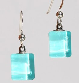 Bryce + Paola Tiny Sq. Sola AQUA Earrings