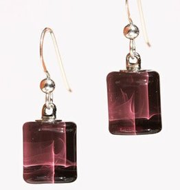 Bryce + Paola Tiny Sq. Sola PLUM Earrings