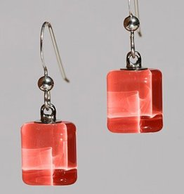 Bryce + Paola Tiny Sq. Sola DARK CORAL Earrings
