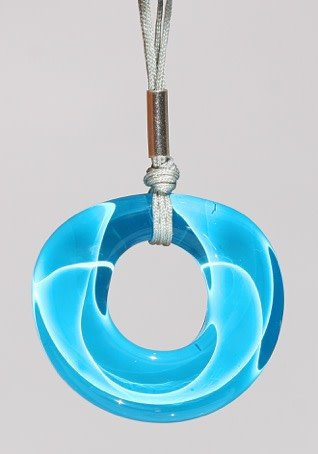 Bryce + Paola Round Hollow Sola AZURE BLUE Pendant with Sterling Silver Findings on a Nylon Cord Necklace