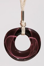 Bryce + Paola Round Hollow Sola PLUM Pendant with Sterling Silver Findings on a Nylon Cord Necklace