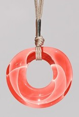 Bryce + Paola Round Hollow Sola DARK CORAL Pendant with Sterling Silver Findings on a Nylon Cord Necklace