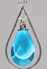 Bryce + Paola Mini Teardrop Sola With Silver Hoop Pendant AZURE BLUE on a Sterling Silver Chain