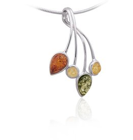 Baltic Amber Amber Multicolor Shapes Rigid Bail Pendant Necklace