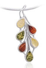 Baltic Amber Amber Multicolor Teardrops Sterling Silver Pendant Necklace