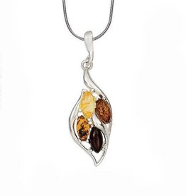 Baltic Amber Amber Cherry Citrine Cognac Marquise Sterling Silver Pendant Necklace