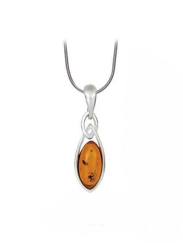 Baltic Amber Amber Honey Marquise Twisted Sterling Silver Pendant Necklace
