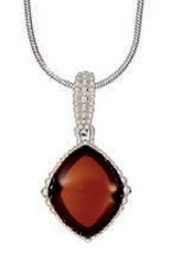 Baltic Amber Amber Cherry Granulated Rhodium Plated Sterling Silver Pendant Necklace