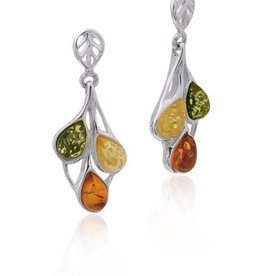 Baltic Amber Amber Multicolor Teardrop Post Dangle Earrings