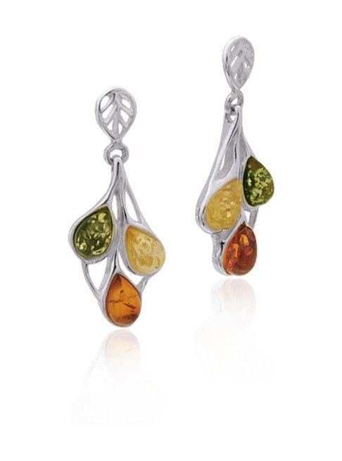 Baltic Amber Amber Multicolor Teardrop Post Dangle Earrings