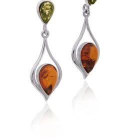 Baltic Amber Amber Multicolor Inverted Teardrops Post Dangle Earrings