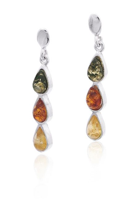 Baltic Amber Amber Multicolor 3 Stone Teardrop Post Dangle Earrings