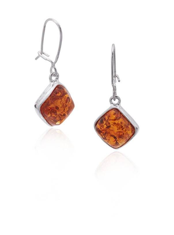 Baltic Amber Amber Honey Large Diamond Earrings