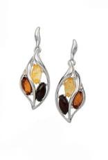 Baltic Amber Amber Cherry Citrine Cognac Marquise Post Dangle Earrings