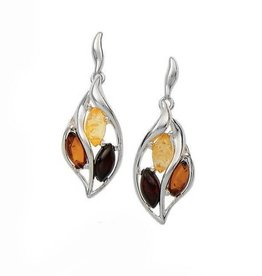 Baltic Amber Amber Cherry Citrine Cognac Marquise Post Dangle Earrings
