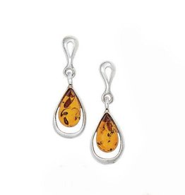 Baltic Amber Amber Drop Silver Outline Earrings