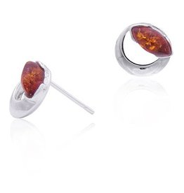Baltic Amber Amber Honey Marquise Small Post Earrings