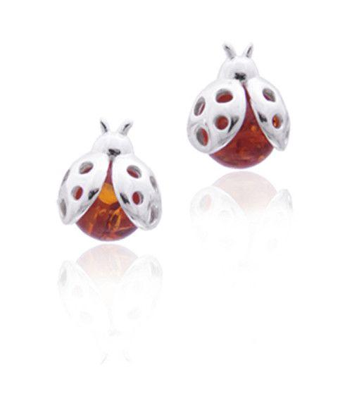 Baltic Amber Amber Honey Ladybug Post Stud Earrings