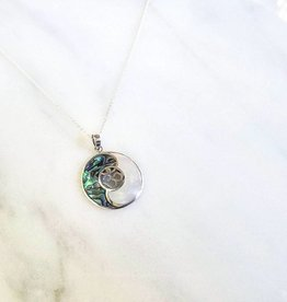 Vera + Wolf Mother of Pearl Paua Shell Yin Yang Sterling Silver Pendant Necklace