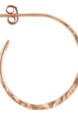 Mark Steel Post Hoop Hammered 25mm Rose Gold Filled