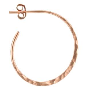 Mark Steel Post Hoop Hammered 25mm Rose Gold Filled Esmeralda