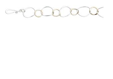 Mark Steel Link Bracelet Staggered Mixed Metal