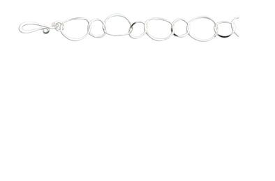 Mark Steel Link Bracelet Staggered Sterling Silver