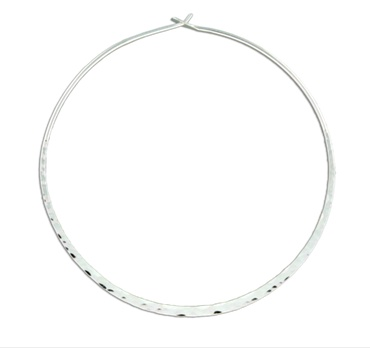 Mark Steel Hammered Round Hoop Earring - 70mm Sterling Silver