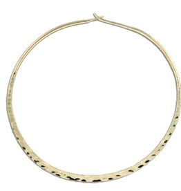 Mark Steel Hammered Round Hoop Earring - 60mm Gold Filled