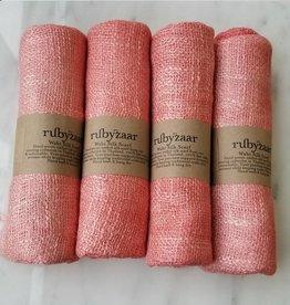 Rubyzaar Coral Wabi Silk Ombre Dyed Handspun Handwoven Scarf
