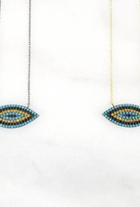 Andrea Justine Stratton Evil Eye Crystal Oxidized Sterling Silver Necklace