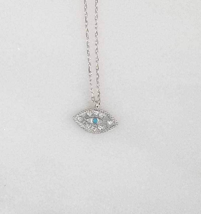 Andrea Justine Stratton Evil Eye Turquoise Crystal Sterling Silver Necklace