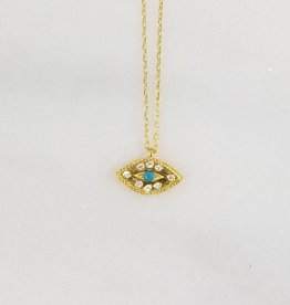 Andrea Justine Stratton Evil Eye Turquoise Crystal 22kt Gold Vermeil Necklace