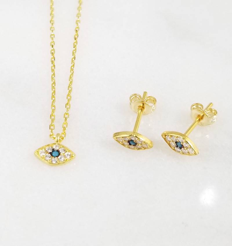 Andrea Justine Stratton Evil Eye Oval CZ 22kt Gold Vermeil Tiny Earrings