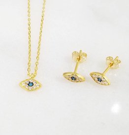 Andrea Justine Stratton Evil Eye Oval CZ 22kt Gold Vermeil Tiny Necklace