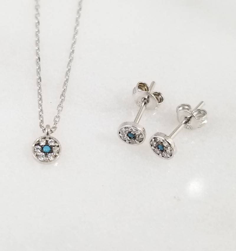 Andrea Justine Stratton Evil Eye Circle CZ Sterling Silver Tiny Earrings