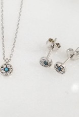 Andrea Justine Stratton Evil Eye Circle CZ Sterling Silver Tiny Necklace