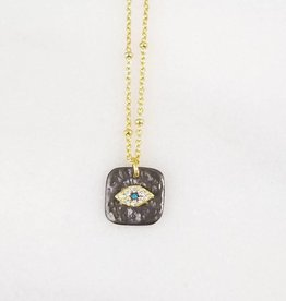 Andrea Justine Stratton Evil Eye Oval CZ Oxidized Square 22kt Gold Vermeil Necklace