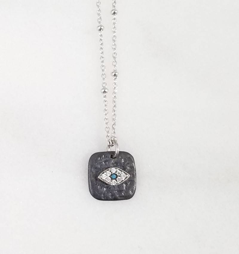 Andrea Justine Stratton Evil Eye Oval CZ Oxidized Square Sterling Silver Necklace