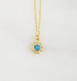 Andrea Justine Stratton Evil Eye Circle Turquoise CZ 22kt Gold Vermeil Tiny Necklace