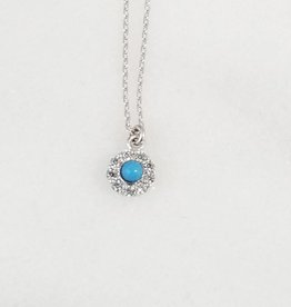 Andrea Justine Stratton Evil Eye Circle Turquoise CZ Sterling Silver Tiny Necklace