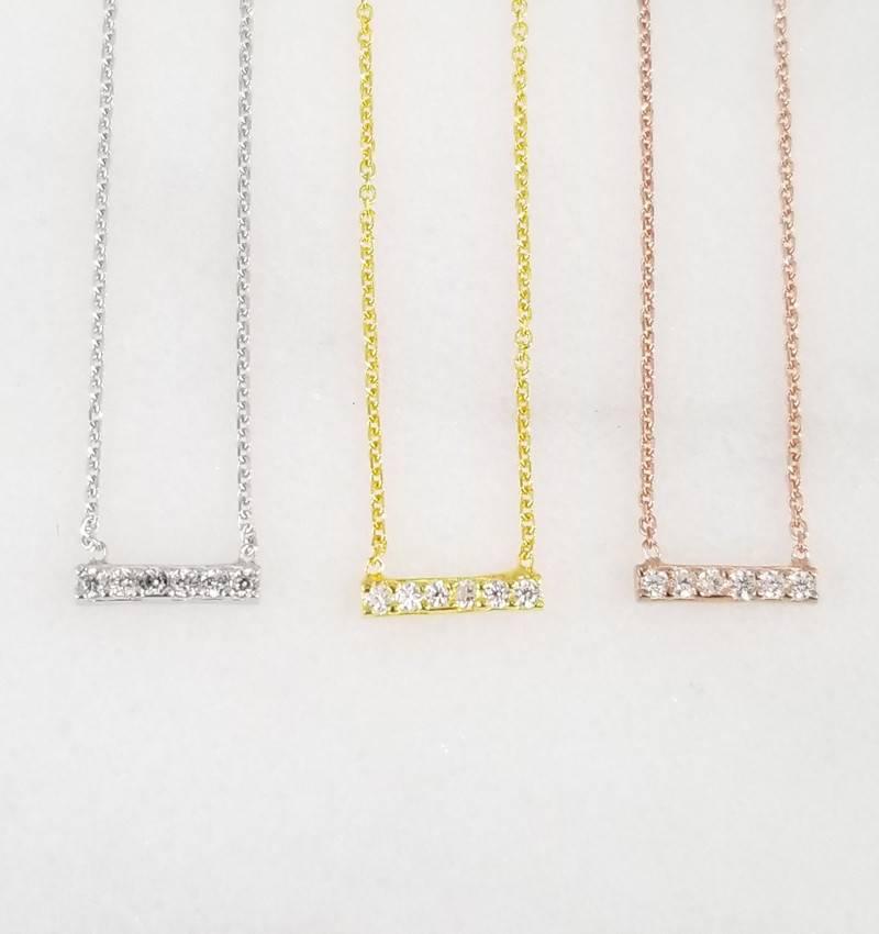 Andrea Justine Stratton Dash Bar CZ 22kt Rose Gold Vermeil Necklace