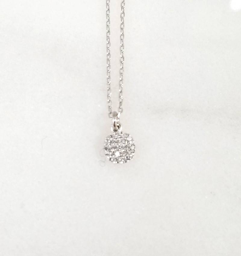 Andrea Justine Stratton Circle CZ Sterling Silver Necklace